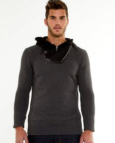 Cotton Hooded Sweater - The hood on this cotton sweater makes it a versatile and practical wardrobe staple. Hooded Sweater, Cotton Sweater, Men Sweater, Sweater Making, Wardrobe Staples, Hoods, Long Sleeve, Sweaters, How To Make
