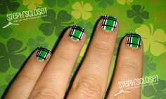 From Shamrocks to Pots of Gold: The Best St. Patrick's Day Nail Art Around Mad for Plaid: Eine subtilere Art, den St. Plaid Nail Designs, Plaid Nail Art, Plaid Nails, Cute Nail Designs, So Nails, Cute Nails, Pretty Nails, Hair And Nails, Crazy Nails