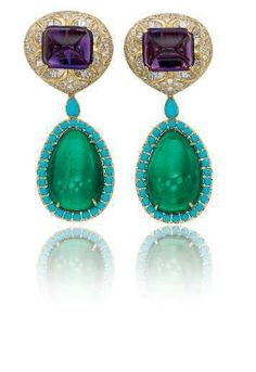 A pair of multi-gem earrings by BVLGARI ~ Set with sugarloaf cabochon amethysts and pear-shaped cabochon emerald drops, surrounded with circular cabochon turquoises