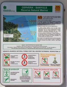 Cartell informatiu de la Reserva Natural Cervera-Banyuls. Conté informació legal i reglamentació, així com quines activitats s'hi poden fer i quines estan prohibides.  Captura presa el 3 de maig al port del Port de la Selva.