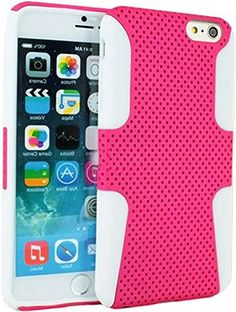 "myLife 2 Layer Neo Hybrid Bumper Case for iPhone 6 Plus (5.5"" Inch) by Apple {Dark Pink + Frost White ""Perforated Mesh Net Design"" Two Piece SECURE-Fit Rubberized Gel} myLife Brand Products http://www.amazon.com/dp/B00OYGIL7U/ref=cm_sw_r_pi_dp_SE8vub0AC8WWZ"