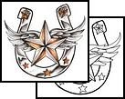 I'd like to have this tattoo - But I would want the star to be red and charcoal gray, silver horseshoe and the wings bordered with red.
