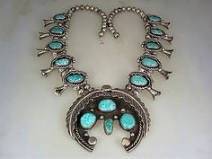 OLD-NAVAJO-STERLING-SILVER-amp-8-SPIDERWEBBED-TURQUOISE-SQUASH-BLOSSOM-NECKLACE