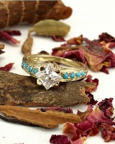 Victorian Filigree 14k Gold CZ and Turquoise Engagement Ring