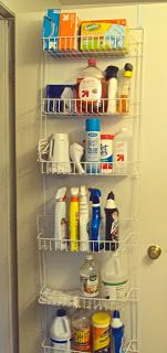 Over the door shelving organization. GREAT for small spaces! #organize #apartment *This is my photo! I was inspired via another pin and sweet success... organization! [08/28]
