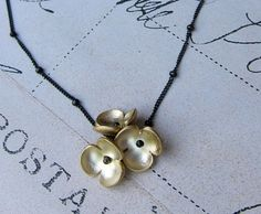 Cassidy necklace - golden flowers sterling silver chain, Elizabeth A. Williams Jewelry, $34.00