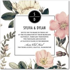 Night Blossoms - Signature White Wedding Invitations - Baumbirdy - Black : Front