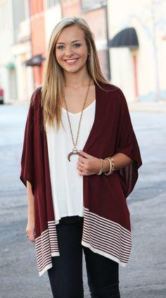 Merlot Stripes Cardigan