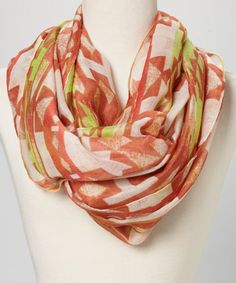 Another great find on #zulily! Orange & Yellow Tribal Infinity Scarf by Cara Accessories #zulilyfinds