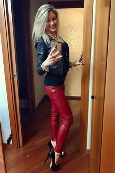 Sexy blonde amateur selfie red leather pants black jacket