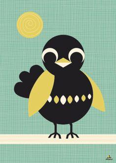 Poster zonnebadende merel (sunbathing blackbird) van MissHoneybird via DaWanda