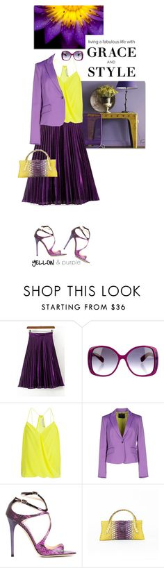 """Pretty Purple and Yellow"" by shortyluv718 on Polyvore featuring Marc Jacobs, Trina Turk, Richmond X, Jimmy Choo, VBH, summerstyle, strappysandals and purpleandyellow"