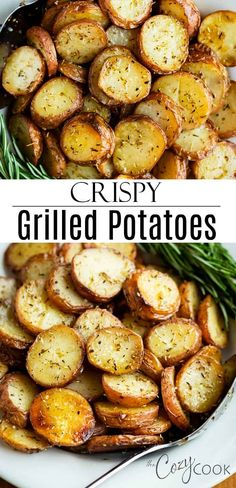 These extra-crispy potatoes are easy to cook on the grill in foil and are tossed in my grandmother s rosemary seasoning recipe Enjoy perfectly roasted potatoes without heating up your kitchen grilled potatoes rosemary roasted seasoning # Rosemary Potatoes, Crispy Potatoes, Roasted Potatoes On Grill, Potatoes On The Bbq, Grilled Foil Potatoes, Grill Potatoes In Foil, Roasted Potato Recipes, Side Dishes With Potatoes, Best Grilled Potatoes Recipe