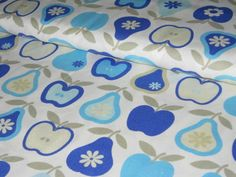 Cotton fabric with apples and pears in cyan-blue-blue on white background