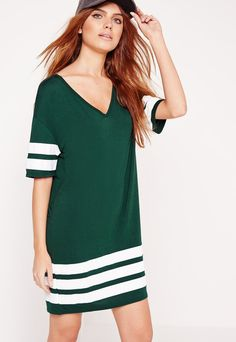 Pin for Later: The Editor-Approved Summer Staple You Can Wear Almost Anywhere  Missguided Sports Stripe T-Shirt Dress Green ($25)