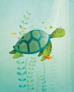 Turtle print Animal nursery decor original by IreneGoughPrints