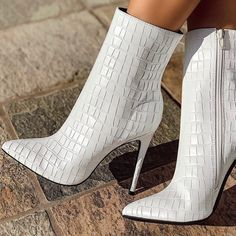 White Stiletto Boots Ankle Boots White Stiletto Boots Ankle Boots for Work Stylish Chic Trendy High Heels Ankle Booties For Women, Party, Wedding, Anniversary, Engagement Stiletto Boots, High Heel Boots, Heeled Boots, Bootie Boots, High Heels, Pretty Shoes, Cute Shoes, Timberland Boots, Sneakers Mode