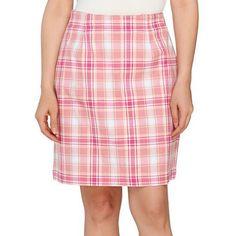 Denim & Co. Pink Plaid Pocket Skort ($17) ❤ liked on Polyvore featuring skirts, mini skirts, cotton skirts, pink tartan skirt, tartan mini skirt, pink plaid skirt and cotton skort