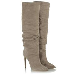 Daniel Taupe Suede Merlyn Ruched Knee High Boot ($430) ❤ liked on Polyvore featuring shoes, boots, taupe knee high boots, taupe boots, scrunch boots, ruched knee high boots and ruched boots