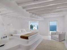 White Luxury house in Mykonos, Greece 05 Coastal Bedrooms, Luxurious Bedrooms, Modern Bedroom, Mykonos Villas, Mykonos Greece, Santorini, Greek Bedroom, Master Bedroom, Bedroom Bed
