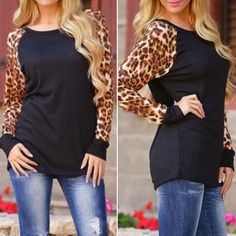 Long sleeve knit tops Knit top with animal print long sleeves. 64%polyester 33%rayon. Listing is for Small (2/4). Price is firm unless bundled. Large fold out in black. Tops