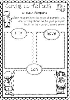Informational Writing Pumpkin Themed First and Second Grade Common Core $ http://www.teacherspayteachers.com/Product/Informational-Writing-Pumpkin-Themed-First-and-Second-Grade-Common-Core-909975