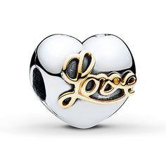 Pandora Clip Heart of Love Sterling Silver 14K Gold f838a4eba64