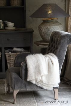 "(Season and style). Grey velvet tufted chair with rustic grey surroundings. from a Dutch board ""Rural Living"" Decor, Furniture, Modern Country, Chair, Home Decor, House Interior, Interior Design, Furnishings, Rustic Interiors"