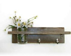 Primitive Country Chocolate Brown  Wood Coat Hooks Cottage Wall Shelf