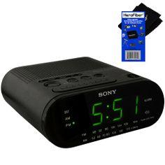 Sony Alarm Clock with Extendable Snooze, AM/FM Radio, Built-in Calendar, Large LED Display, & Battery Backup (Black) + HeroFiber® Ultra Gent...