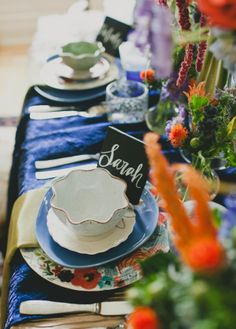 eclectic plate setting // photo by Sarah McKenzie // http://ruffledblog.com/pablo-picasso-wedding-inspiration