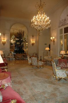 Beautiful French interior! The Ritz Hotel in Paris .... This is the gorgeous sitting room before entry into the breakfast room.