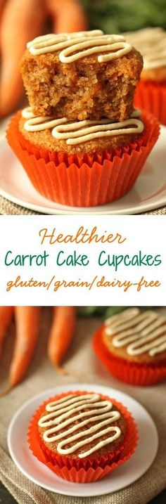 Moist, lightly sweetened with honey and even a little fluffy, these grain-free and gluten-free healthier carrot cake cupcakes (or muffins!) are the perfect Easter treat. With a dairy-free option