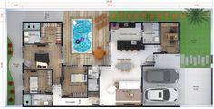 Planta de casa térrea com piscina. Planta para terreno 12x25 Minimalist House Design, Minimalist Home, Bungalow Haus Design, Tiny House Trailer, House Blueprints, House Elevation, Home Room Design, House Extensions, Architecture Plan