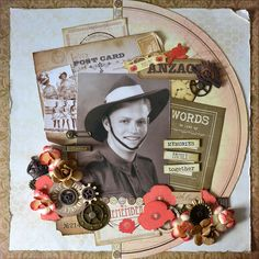 Kaisercraft's Remeber Me for Heritage Scrapbook Pages, Military Shadow Box, Elderly Activities, History Page, Anzac Day, Scrapbooking Layouts, Mini Albums, Crafty, Cards