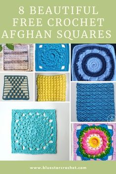 Crochet Afghan Squares - 8 free textured patterns | Blue Star Crochet