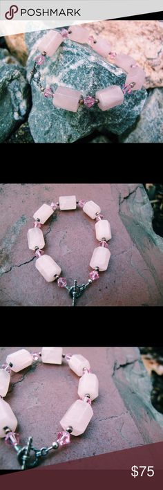 rose quartz & swarovski bracelet with toggle clasp the heart healing properties are the most prominent energy of the rose quartz. no other crystal or stone is as skilled as rose quartz in helping one dissolve painful memories related to love. this bracelet is handmade with swarovskis, semi precious gemstones and love ❤️ Jewelry Bracelets
