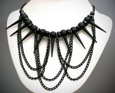 Spike Necklace, Black Chain Necklace, Goth Necklace, Statement Jewelry, Gothic, Black Spikes, Deathrock, Punk Necklace. $35.00, via Etsy.
