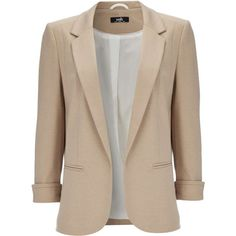Camel Ponte Blazer ($70) ❤ liked on Polyvore featuring outerwear, jackets, blazers, coats, coats & jackets, camel, slim blazer, 3/4 sleeve blazer, camel jacket and brown jacket