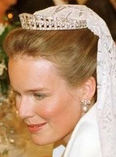 The Diamond Bandeau Tiara worn by Queen Mathilde of the Belgians on her wedding day.