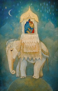 """Limited edition giclée print of original painting by Lucy Campbell - """"The Lonely Prince"""" Elephant Love, Elephant Art, Elephant Illustration, Illustration Art, Art Magique, Art Fantaisiste, Art Mignon, Bo Bartlett, Moon Art"""