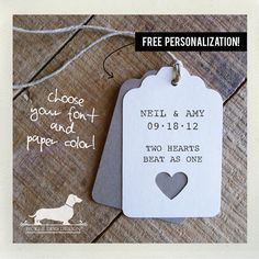 Ivory Heart Personalized Gift Tags Set of 12  by PickleDogDesign, $9.00