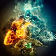 The elements are each different, so they are made up of different types of magic. Earth: Wild Magic Fire: Magic over Spirit Water: The Sight Wind: Magic of the Mind 4 Elements, Elements Of Nature, Classical Elements, Magia Elemental, Earth Air Fire Water, Mother Earth, Oeuvre D'art, Illustration, Fantasy Art