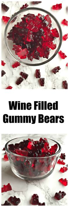 fun gummy bears drenched in wine. Should be great with sharp cheddar cheese on a tooth pick for party food! Fun Drinks, Yummy Drinks, Yummy Food, Beverages, Drinks Alcohol, Alcohol Recipes, In Vino Veritas, Gummy Bears, Snacks