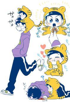Ichimatsu and the little tiger Karamatsu Osomatsu San Doujinshi, Sans Cute, Fanart, Kawaii Chibi, Kawaii Anime, Ichimatsu, Comic Page, Webtoon, Neko