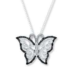 Butterfly Necklace 1/4 ct tw Diamonds Sterling Silver