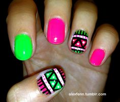 aztec nail designs | Compulsive Nail Painting (Aztec over gel :) I like how it looks with ...