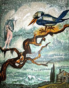 """Salvador #Dali (Spanish, 1904-1989) """"The Prince and the Princess"""" (1966) Description: These are some of the most beautiful lithographs in Salvador Dali's oeuvre of graphic works (Hans Christian Andersen Tales) Media: Lithograph in color    Edition of 75 (Japon) Literature: Field, A. The Official Catalogue of the Graphic Works of Salvador Dali (1996), Ref #66-6C Dimensions: 25 3/4 x 19 7/8 inches (Sheet) Price: on request"""