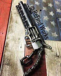 Items similar to Welded scrap metal revolver sculpture on Etsy Welding Art Projects, Metal Art Projects, Metal Crafts, Diy Projects, Project Ideas, Paper Crafts, Metal Tree Wall Art, Scrap Metal Art, Metal Artwork