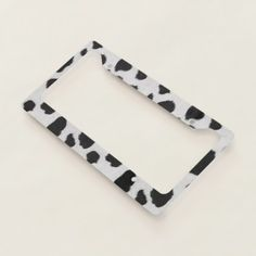 Black and white cow spots pattern fur texture license plate frame - home gifts ideas decor special unique custom individual customized individualized Pet Gifts, Home Gifts, White Cow, Black And White, Cow Spots, License Plate Frames, License Plates, Personalized Plates, Cow Print